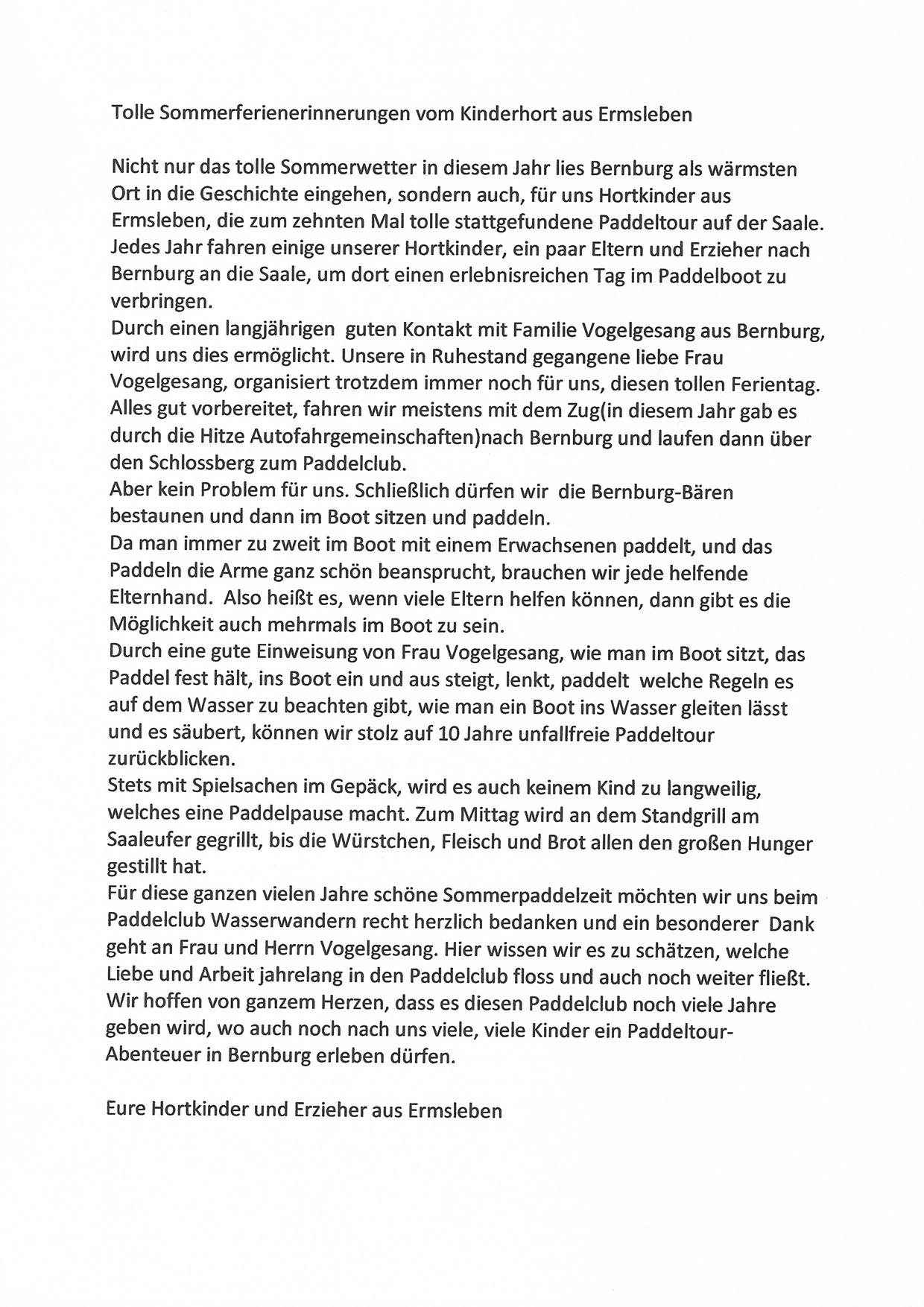 Brief Hortgruppe an den MBSV